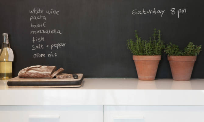 Il grande exploit della vernice a lavagna - Parete lavagna cucina ...