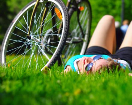 In bici al parco
