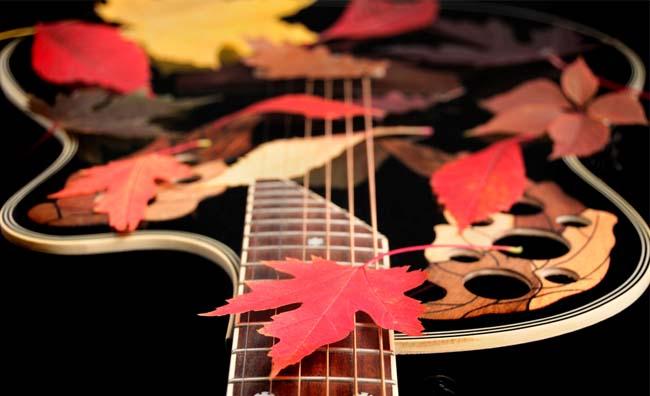 Chitarra con foglie d'autunno