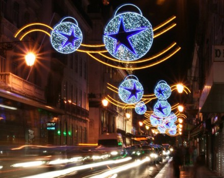 Luci di Natale su Lisbona