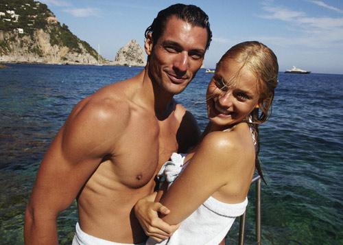 David Gandy e Marija Vujovic sorridono per lo spot