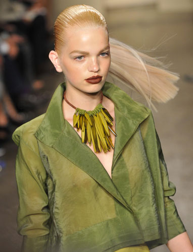 Donna Karan giacca corta verde