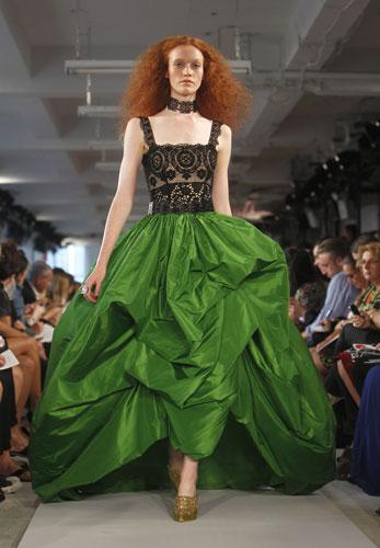 Oscar de la Renta abito verde e nero
