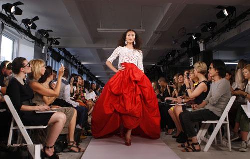 Oscar de la Renta abito rosso e bianco