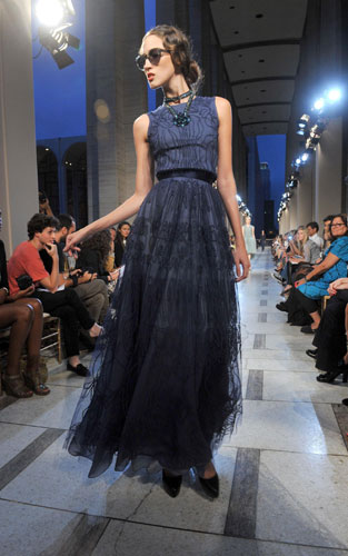 Zac Posen abito blu con gonna tulle