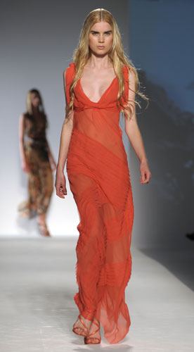 Alberta Ferretti: Abito Lungo Arancione - Scarpe Tacco