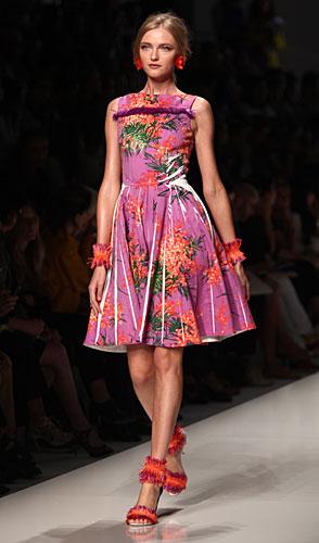 Blumarine: abito fiori - gonna a ruota