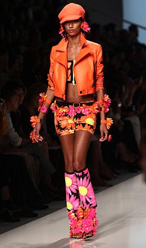 Blumarine: mini gonna fiori arancio - giacchetta