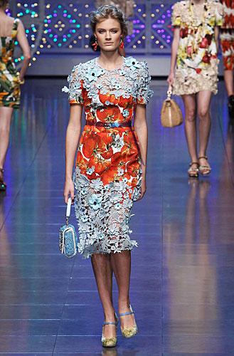 Dolce & Gabbana: Abito pizzo - stampa fantasia