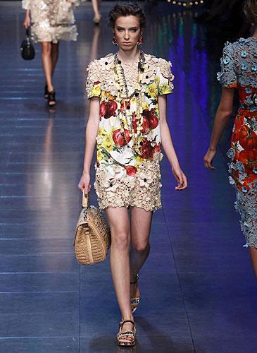 Dolce & Gabbana: Abito corto pizzo - stampa fantasia