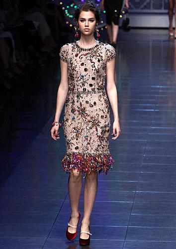 Dolce & Gabbana: Abito orlo frange - pietre