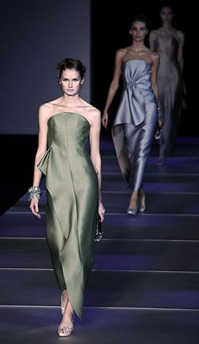 Giorgio Armani: Abito lungo senza maniche verde