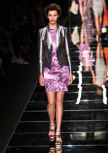 John Richmond: abito corto viola - giacca argento