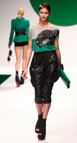 Krizia: maglia pantera - pochette verde