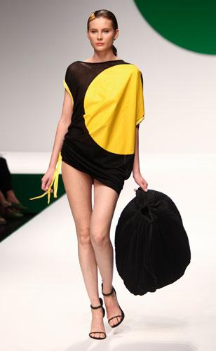 Krizia: abito bicolore nero giallo