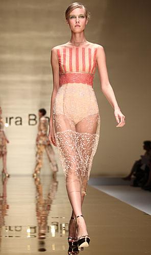 Laura Biagiotti: abito top righe - gonna trasparente