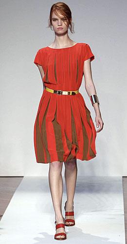 Mila Schon: Abito Corto Rosso - Cintura Gialla