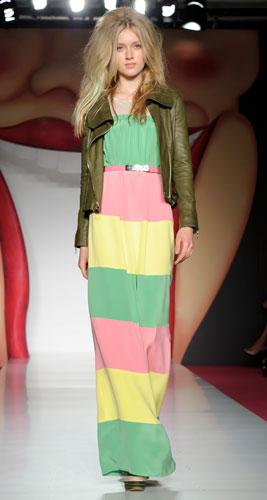 Mulberry:abito lungo verde rosa e giallo