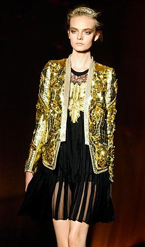 Roberto Cavalli: Giacca oro paillettes - abito corto