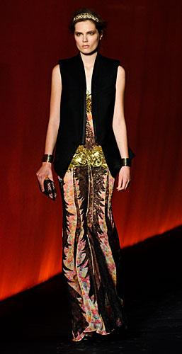 Roberto Cavalli: Gilet nero - fascia oro paillettes