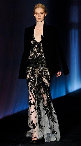 Roberto Cavalli: Abito lungo decori neri - giacca