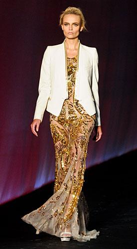 Roberto Cavalli: Abito lungo oro - giacca bianca
