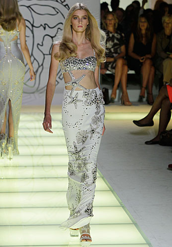 Versace: abito lungo bianco argento - stella marina