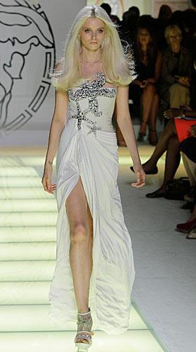 Versace: abito lungo bianco spacco - stella marina