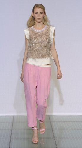 Costume National, pantaloni rosa