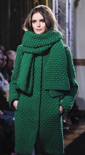 Cappotto lana verde e sciarpa Les Copains