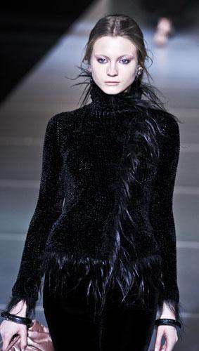 Giacca nera con pelliccia Giorgio Armani