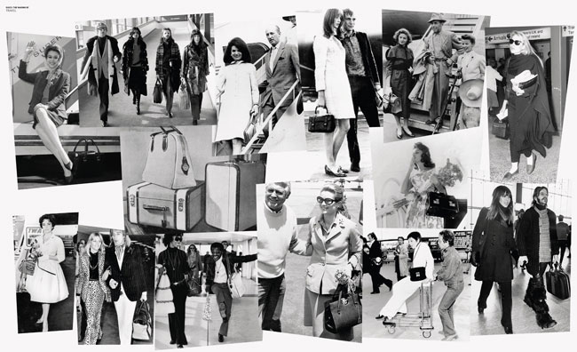 Overlapping images of celebrities from the 50s to the 70s while travelling_Gucci Historical Archive