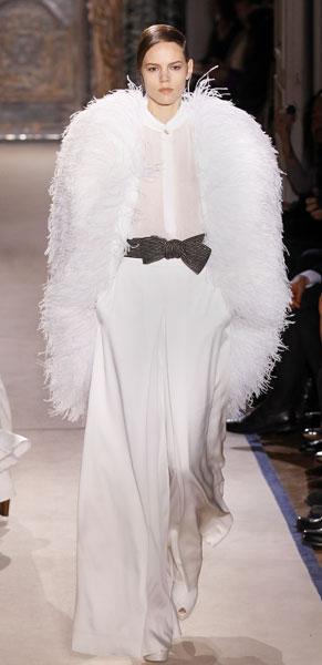 Yves Saint Laurent cappotto piume bianche