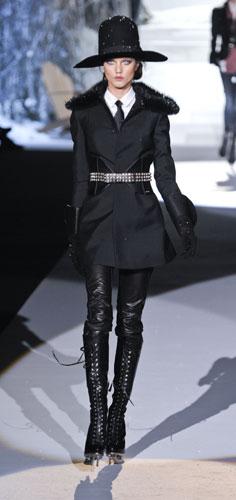 Pantaloni pelle nera Dsquared2 Autunno Inverno 2011 201