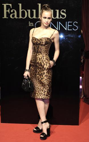 Alice Dellal cannes abito leopardato