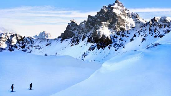 Sciatori sulle Dolomiti