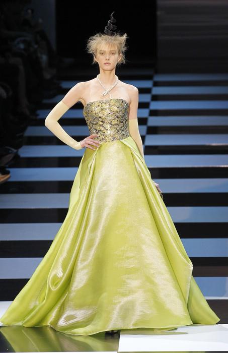 Armani Prive' abito giallo chartreuse