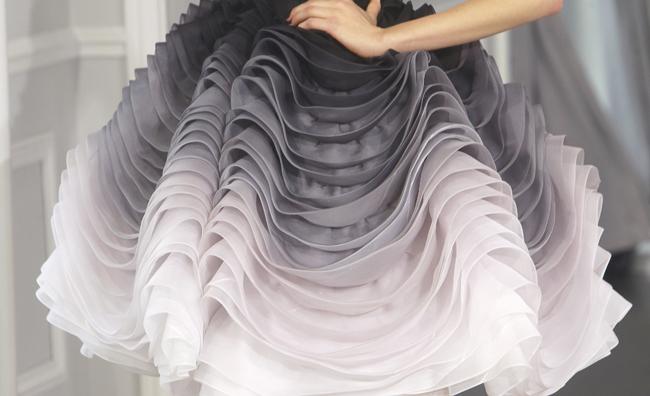 Dior Couture dettaglio gonna a balze