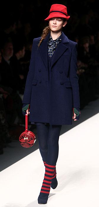 Blugirl 2012 Cappotto Blu e Cappello Rosso