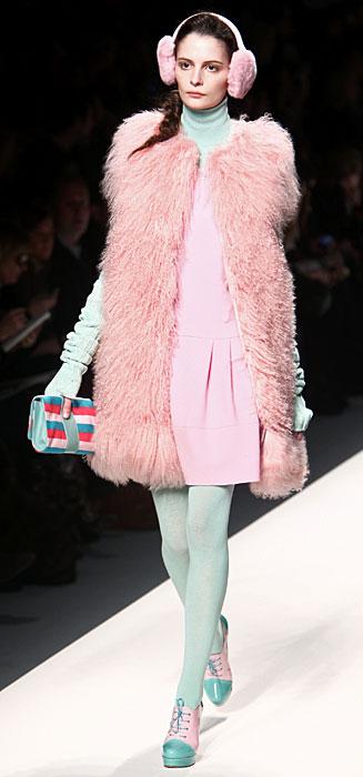 Blugirl 2012 Pelliccia Rosa e Collant Azzurri