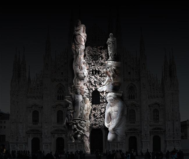 Duomo Milano proiezione sculture
