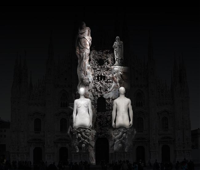 Duomo Milano proiezione statue
