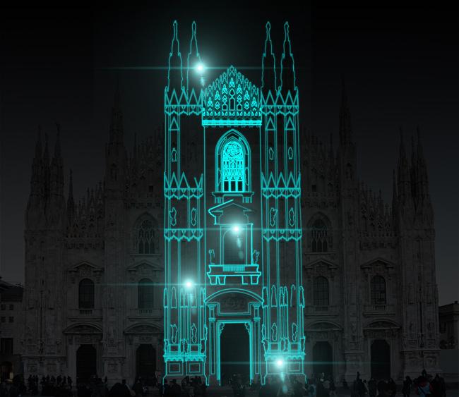 Duomo Milano proiezione  struttura