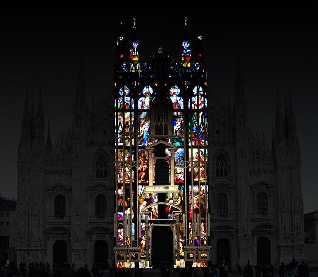 Duomo Milano proiezione vetrate
