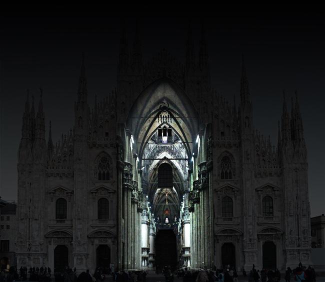 Duomo Milano proiezione interni