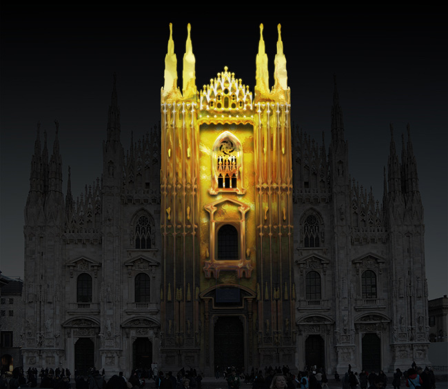 Duomo Milano proiezione dorata