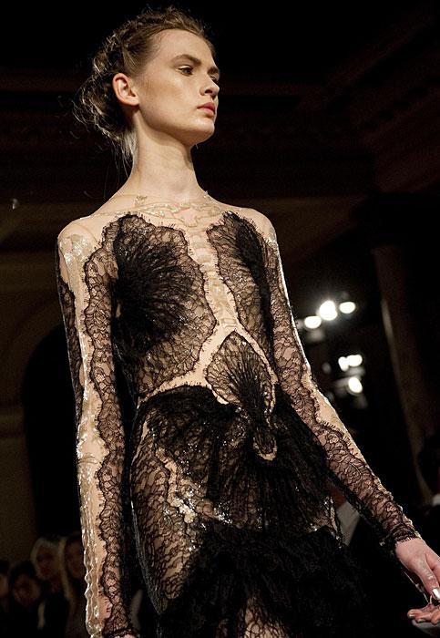 Marchesa - abito trasparente nero