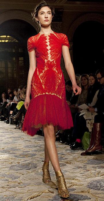 Marchesa - abito ricamato rosso