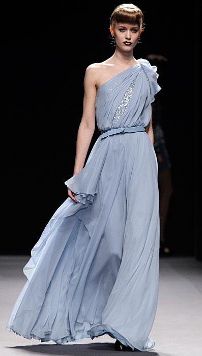 Jenny Packham - abito da sera azzurro monospalla