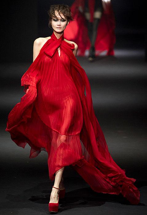 John Galliano 2012 2013 - abito lungo rosso